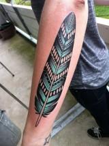 Tattoo feather geometric blue