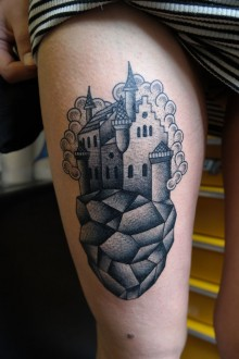 Tattoo floating castle dotwork