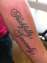 Tattoo script faithfully sincerely