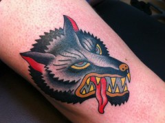 Tattoo traditional oldschool wolf