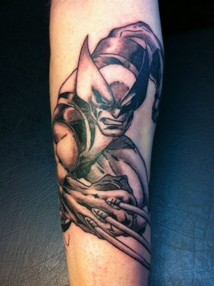 Tattoo wolverine marvel black and grey